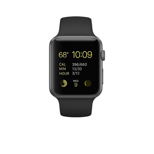 Apple Watch Sport 42mm Space Gray Aluminum Case with Black Band-0