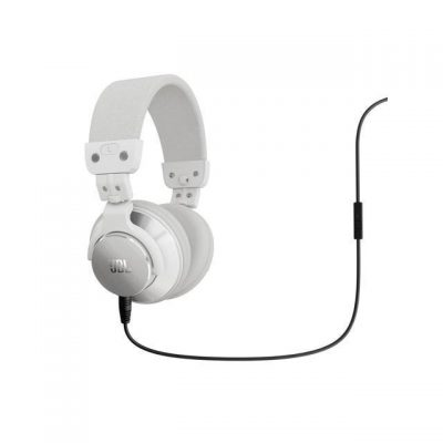 BassLine Over_Ear DJ Style Headphones with In_line Mic  Controls _White_